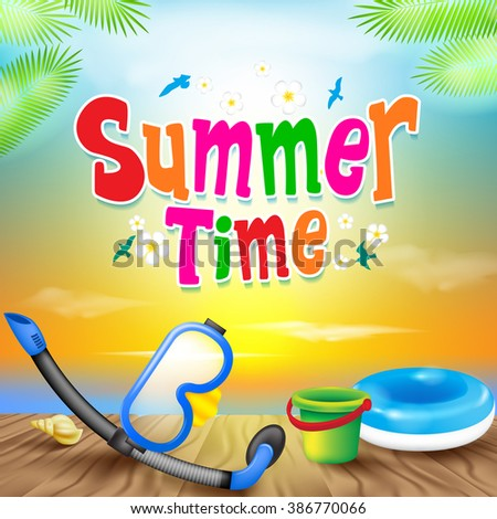 Summer Time Colorful Design with Snorkel Vector Elements and Decoration of Summer Items in a Colorful Sunset Background. Vector Illustration  - stock vector