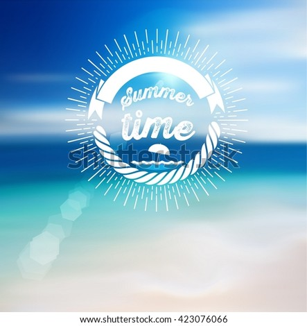 Summer Time Design with Blur Beach Background. - stock vector