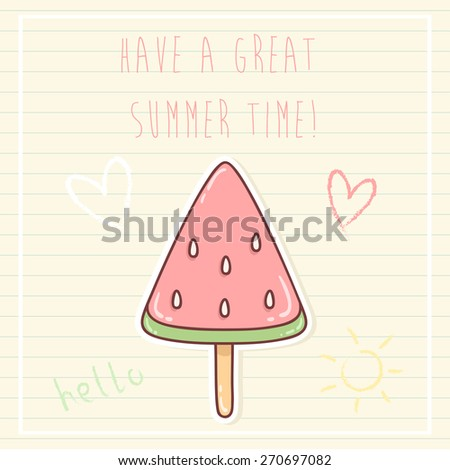 summer time greeting cards template with watermelon ice cream and some doodle. can be used like greeting cards or party invitations. - stock vector