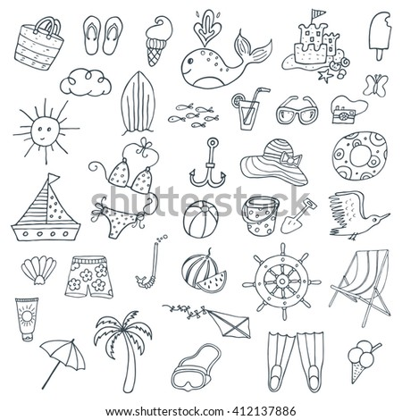 Summer time. Hand drawn symbols and objects. Vector