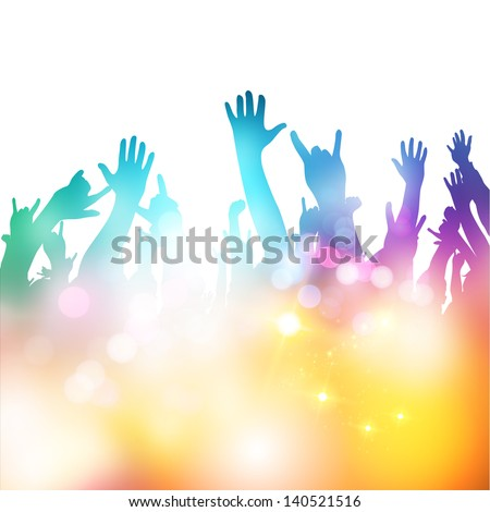 Summer time, hands in the air! Vector illustration - stock vector