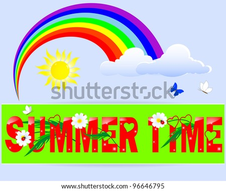 Summer time label with ladybugs on a camomiles against the sunny sky with a rainbow and butterflies. Vector illustration.