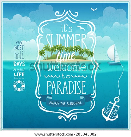 Summer time poster with tropical background. - stock vector
