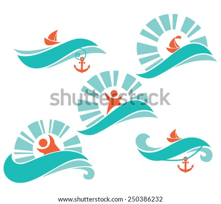 summer time, sea and summer adventure - stock vector