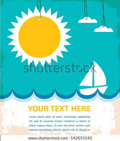 summer time, sea with yacht - stock vector