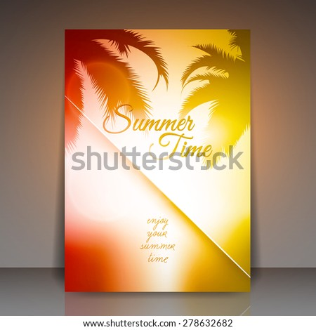 Summer Time Vector Flyer Background | Palm Tree Sunset - stock vector