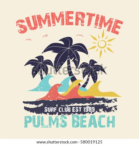 Summer Time Vector Illustration Vintage Graphic Stock 2018