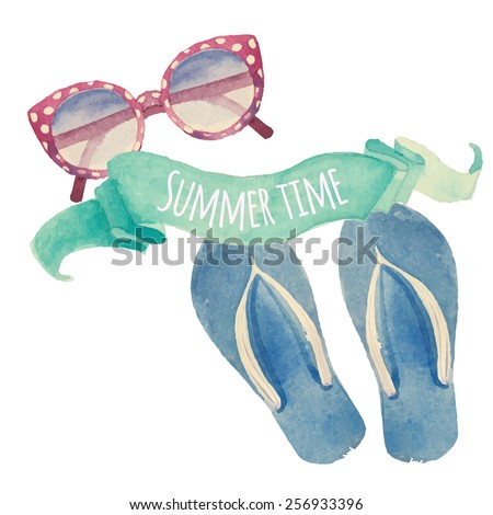 Summer time. Watercolor summer vacation retro label. Vintage hand drawn beach travel objects: sunglasses, flip flops and artistic mint ribbon. Vector isolated illustration - stock vector