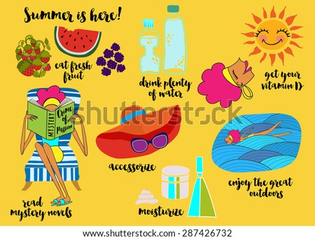 Summer Tips - Illustrated cartoon-style summer tips, recommending eating fresh fruit, drinking plenty of water, swimming, moisturizing, sunbathing  and reading mystery novels, hand drawn vector - stock vector