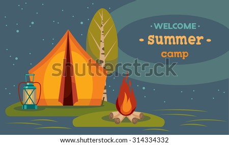 Summer tourist camping. Vector illustration with red tent and campfire on a night starry sky. - stock vector