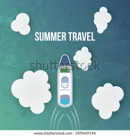 Summer travel background with Cruise Liner. Vector illustration - stock vector