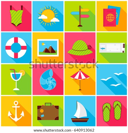 Summer Travel Colorful Icons. Vector Illustration. Set of Flat Rectangle Seal Items with Long Shadow.