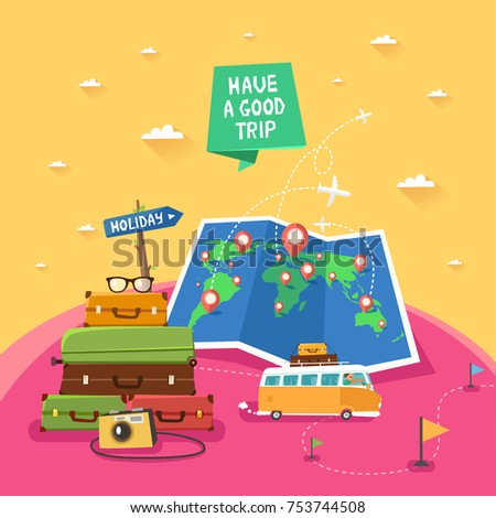 "Summer travel concept. Travel Banner with luggage, backpacks, photo camera, folded map with pins, travel bus. Road sign ""Adventures"" and ribbon ""Have a good trip"". Vector colorful illustration."