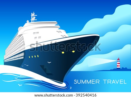 Summer travel cruise ship. Vintage art deco poster illustration. Seaway line connection transport. Illustration of vacation and cruise. Lighthouse on mountain. - stock vector