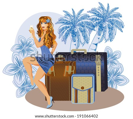 Summer travel girl with wineglass, vector illustration - stock vector