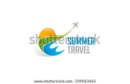 Summer Travel Logo - stock vector
