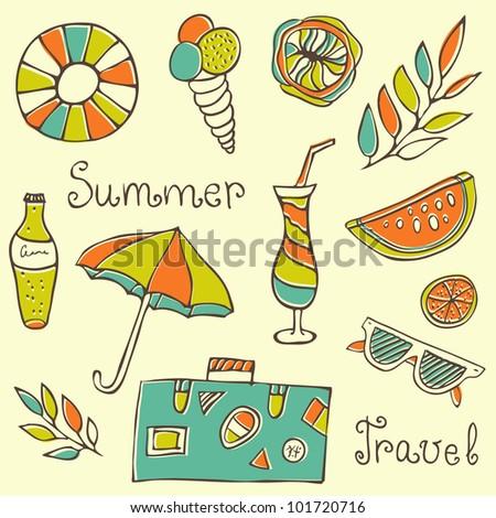 Summer travel set vector illustration - stock vector