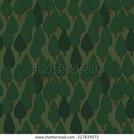 Summer tree seamless vector pattern. Dense green hand drawn forest. Background repeat texture - stock vector