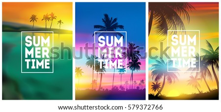 Summer tropical backgrounds set with palms, sky and sunset. Summer placard poster flyer invitation card. Summertime.