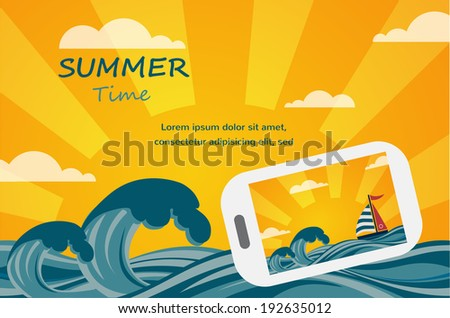Summer tropical concept background, smartphone make picture of summer view. Vector image.  - stock vector