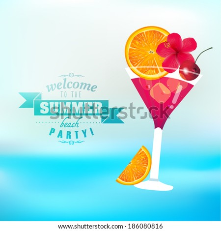 Summer Tropical Fruit Juice Vector Design