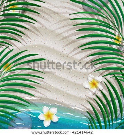 Summer tropical green palm leaves on the beach background. - stock vector