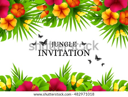 Summer tropical hawaiian background jungle palm stock vector summer tropical hawaiian background with jungle palm tree leaves exotic flowers and butterflies horizontal stopboris Choice Image