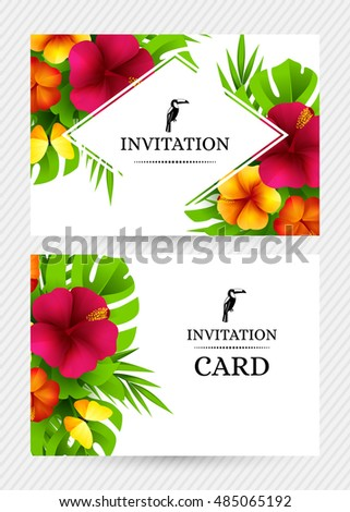 Summer tropical hawaiian background jungle palm stock vector summer tropical hawaiian background with jungle palm tree leaves exotic flowers and butterflies horizontal stopboris Images