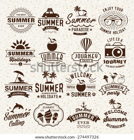 Summer typography designs. Summer logotypes set. Vintage design elements, logos, labels, icons, objects and calligraphic designs. Summer holidays. - stock vector