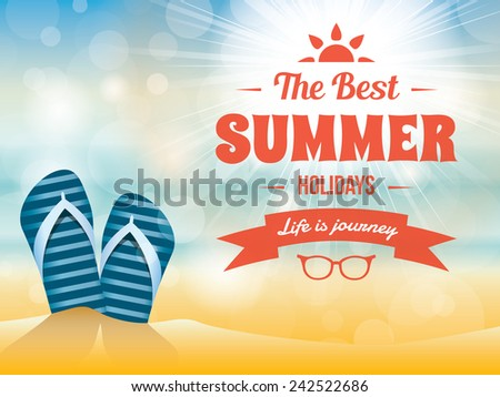 Summer typography vector design with beach sand and flip flop sandals - stock vector