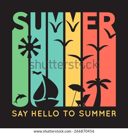 Summer typography with beach icons, t-shirt graphics on black background. Vector illustration. Banner of simple bright symbols of holidays. Sun, boat, palm tree, bird. - stock vector