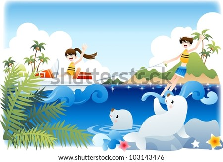 Summer Vacation and Happy Travel - enjoy extreme sports with cute smiling young female and male in beautiful tropical island resort on a background of blue sky and shiny water : vector illustration - stock vector