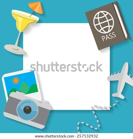 summer vacation and travel on blue background, flat icon concept  text can be add for advertising, wallpaper, greeting card - stock vector