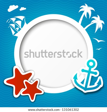Summer vacation background with round frame - stock vector