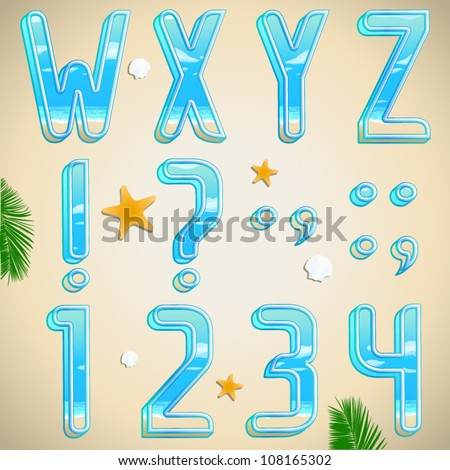 Summer vacation beach font, abc and numbers. Part 3 - stock vector