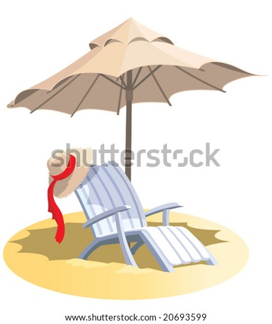 Summer vacation, chair and umbrella on a tropical beach. - stock vector