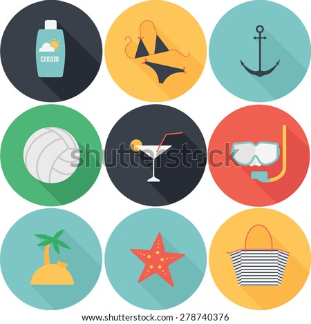 Summer vacation colorful icons set, flat design with long shadows