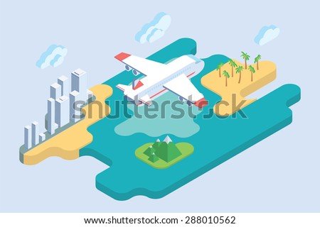 Summer Vacation. Flat Isometric Art. Airliner Travel Vector Illustration. - stock vector