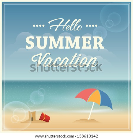 Summer vacation greeting card design. Vector illustration - stock vector
