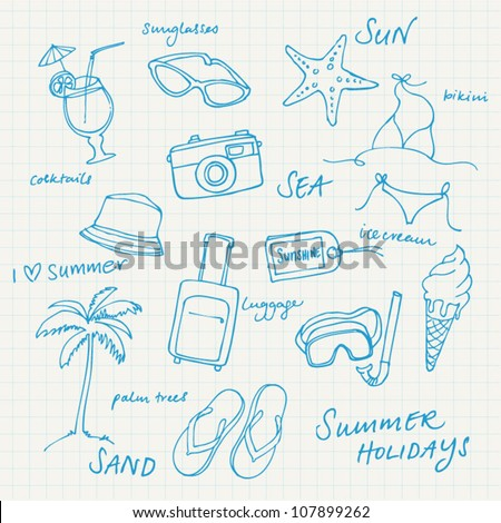 Summer vacation holiday icons and words vector - stock vector