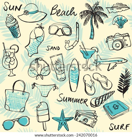Summer vacation holiday icons seamless background