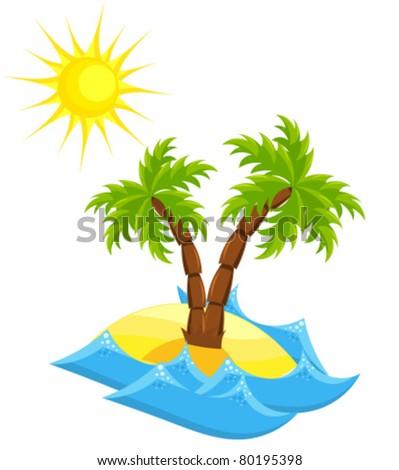 Summer vacation island. Vector illustration - stock vector