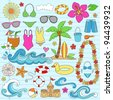 Summer Vacation Notebook Doodle Design Elements Set on Blue Lined Sketchbook Paper Background- Vector Illustration - stock vector