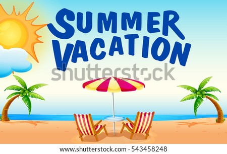 summer vacation on beach illustration stock vector 543458248 rh shutterstock com cartoon summer vacation clipart summer vacation homework clipart