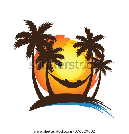 summer vacation on tropical beach sunset with Palm trees ,vector illustration - stock vector