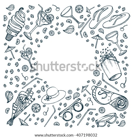 Summer vacation outline elements circle frame. Template design for card, cover, advertisement. Vector hand drawn doodle illustration. Black icons outlines isolated on white background. - stock vector