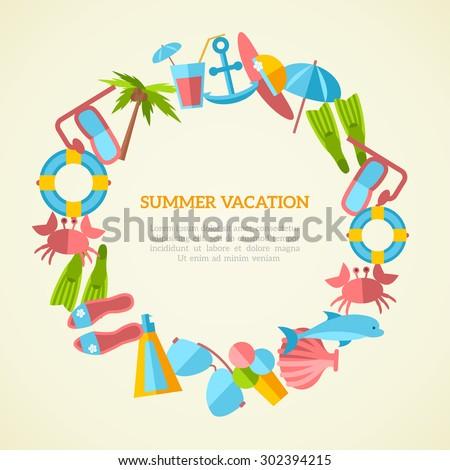 Summer Vacation Round Frame Seaside Holidays Stock Vector 302394215 ...