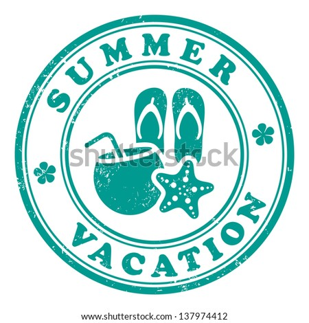 Summer vacation stamp - stock vector