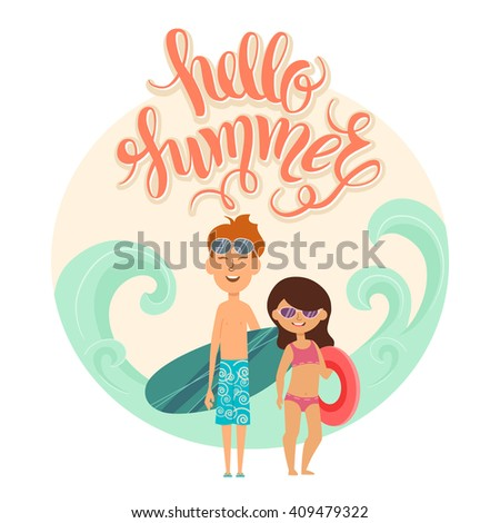 """Summer vacation. Vector illustration of kids on the beach isolated. Girl and boy in sunglasses near the sea. Cartoon characters of young people. Hand drawn lettering """"Hello summer"""". - stock vector"""
