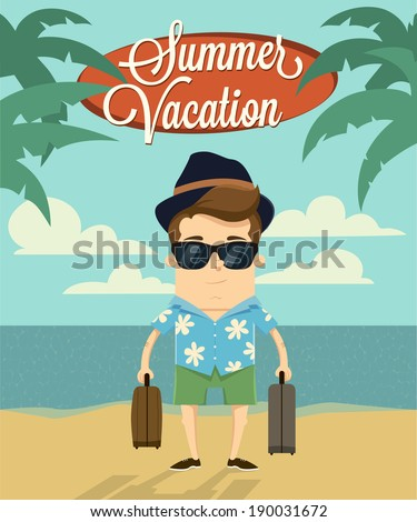 Summer vacation with character design.Vector illustration - stock vector